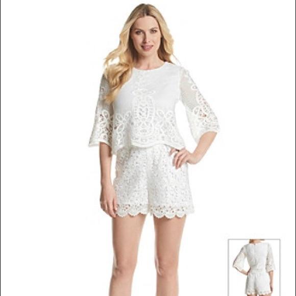 86299bb504b7 MUSE white lace romper playsuit jumpsuit